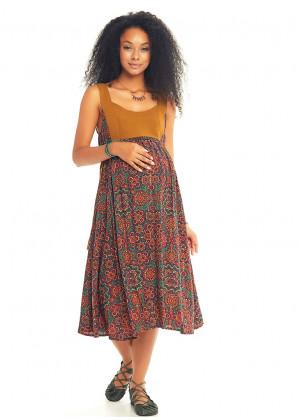 Retro Print Open Back Boho Maternity Dress