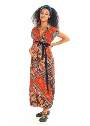 Side Slits Detail Belted Boho Chic Maternity Dress