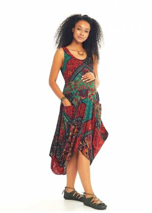 Black Print Sleeveless Tie Waist Maternity Dress