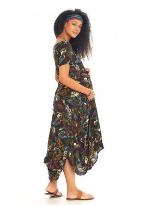 Oversized Pocket Detail Half Sleeve Bohemian Maternity Dress