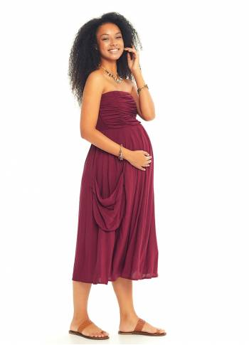 Strapless Drape Detail Midi Maternity Dress