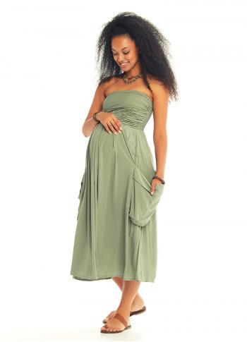 Draped Front Detail Strapless Maternity Midi Dress