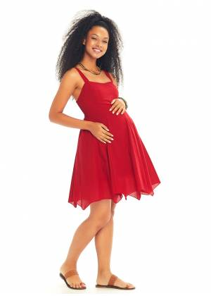 Sweetheart Neck Fit And Flare Maternity Short Dress