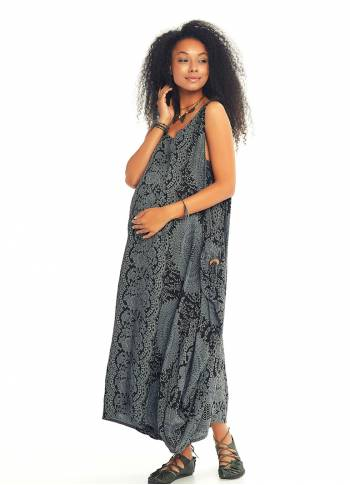 Scoop Neck Loose Fit Printed Maternity Maxi Dress