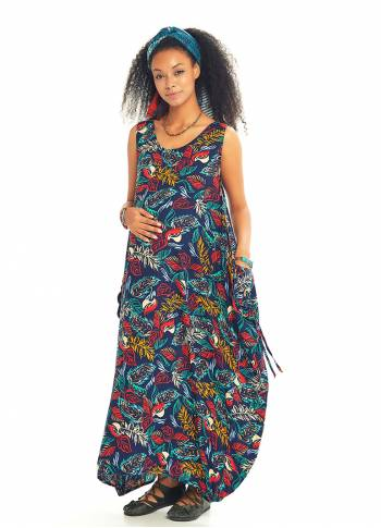 Blue Print Loose Fit Maternity Maxi Summer Dress