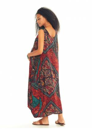 Ethnic Print Scoop Neck Loose Fit Boho Maternity Maxi Dress