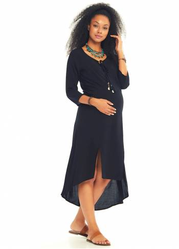 Boat Neck Maternity Black Tunic Dress