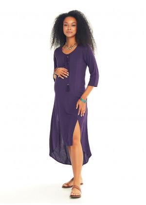 Tassel Detail Boat Neck Maternity Tunic Dress