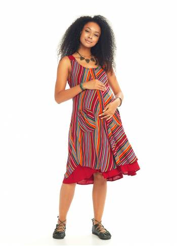 Double Layered Striped Maternity Sundress
