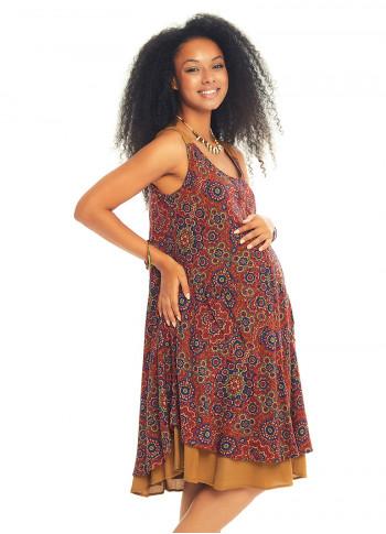 Retro Print Double Layered Maternity Dress