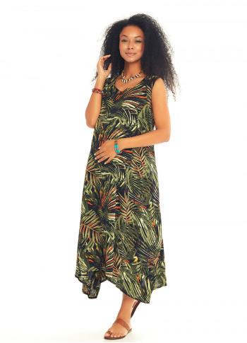 Palm Print Boat Neck Boho Maternity Dress