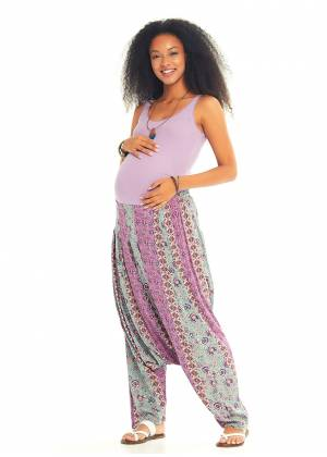 Floral Patterned Bohemian Pleated Harem Maternity Pants