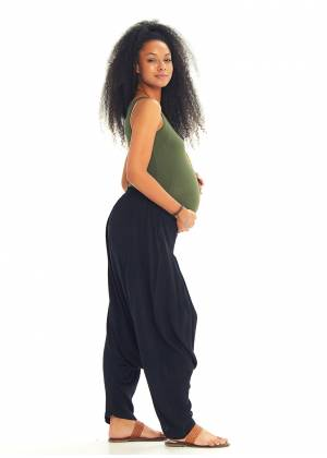 Black Bohemian Pleated Harem Maternity Pants