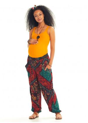 Ethnic Print Boho Style Baggy Maternity Pants