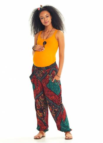 Authentic Patterned Bohemian Style Flowy Baggy Maternity Trousers