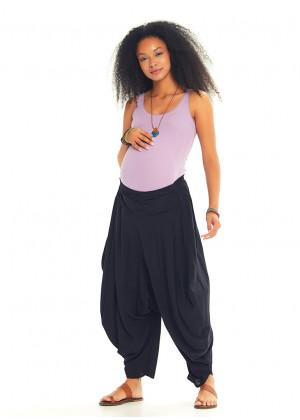 Draped Elastic Waist Medium Rise Flowy Casual Black Baggy Maternity Pants