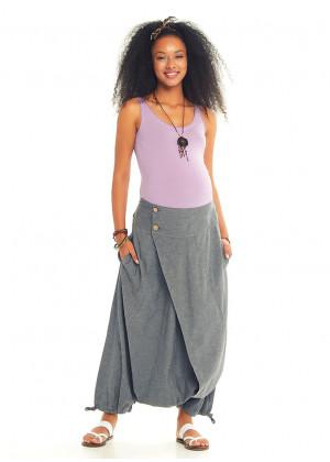 Elastic Waist Wrap Front Boho Style Casual Cotton Harem Maternity Pants
