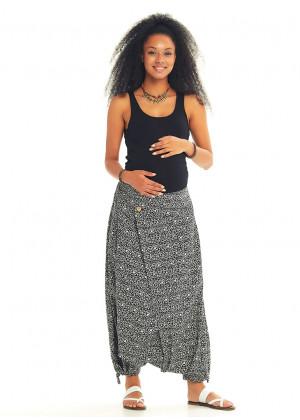 Adjustable Hem Wrap Front White Patterned Harem Maternity Pants