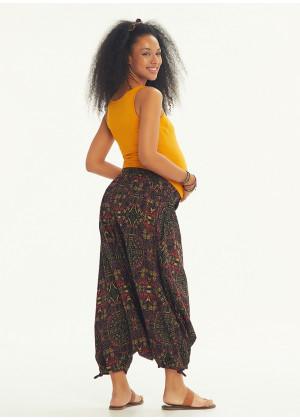 Etnic Paternned Adjustable Hem Wraped Harem Maternity Pants