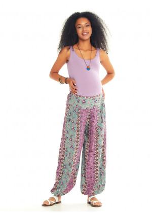 Floral Printed Elastic Waist and Hem Mid Rise Harem Maternity Pants