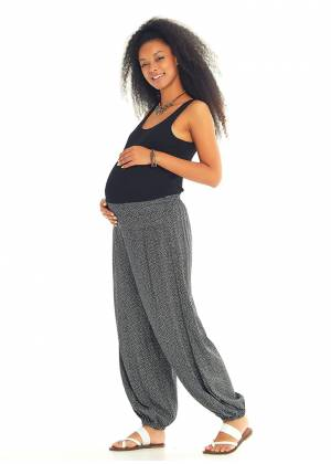 Elastic Waist Medium Rise Printed Harem Maternity Pants
