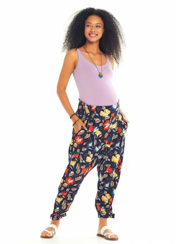 Ethnic Patterned Giped Waist Black Baggy Maternity Trousers