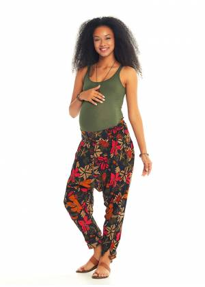 Floral Print Shirred Waist Drop Crotch Maternity Pants