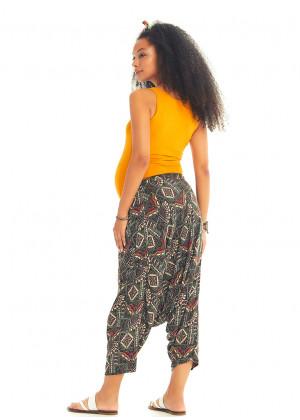 Khaki Print Elastic Tie Waist Boho Style Cropped Harem Maternity Pants