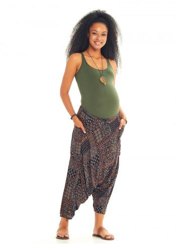 Brown Patterned Elastic Waist Capri Harem Maternity Pants
