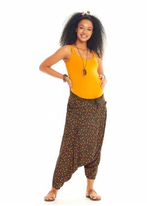 Easy Pull On Floral Cropped Harem Maternity Pants