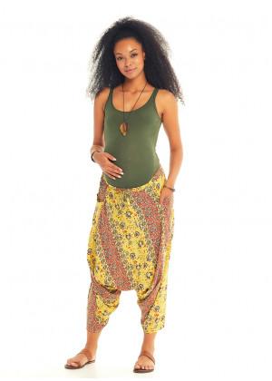 Yellow Floral Elastic Waist Capri Harem Maternity Pants