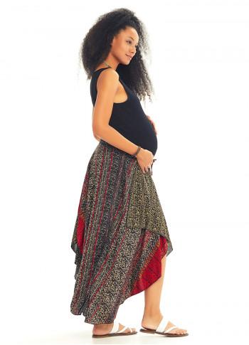 Ethnic Print Color Block Gypsy Midi Maternity Skirt