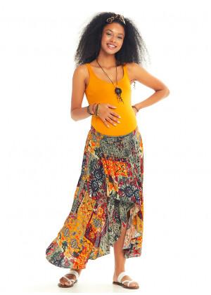 Mustard Patterned Bohemian Authentic Maternity Skirt