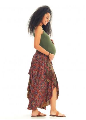 Paisley Print Hem Detail Elastic Waist Gypsy Flowy Midi Maternity Skirt