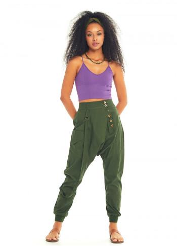 Button Closure Elastic Waist Pocket Detail Wrap Front Green Harem Pants