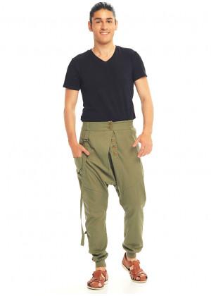 Metal Buttons Boho Men's Drop Crotch Soil Color Pants