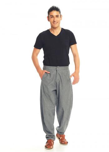 Gray Cotton Cropped Balloon Pants