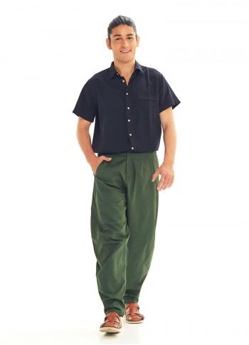 Green Cotton Cropped Balloon Pants