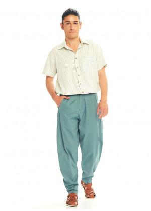 Blue Cotton Cropped Balloon Pants
