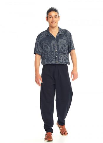 Black Cotton Cropped Balloon Pants