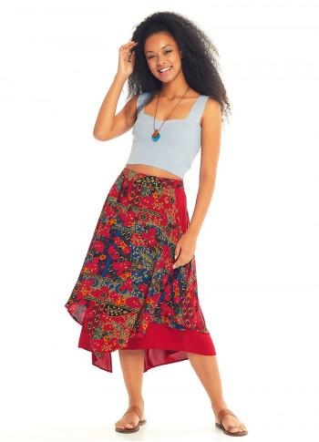 Roma Patterned Double Layered Midi Skirt