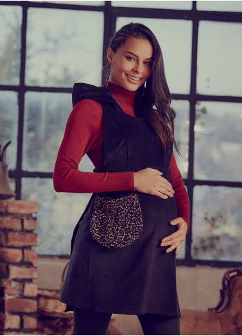Sleeveless Pocket Detailed Short Velvet Hoodie Maternity Dress