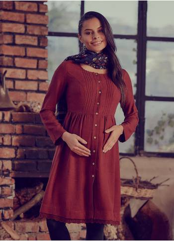 Laced Hem Long Sleeve  Maternity Dress
