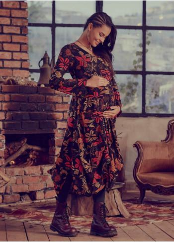 Floral Print Tie Waist Long Sleeve Maternity Dress