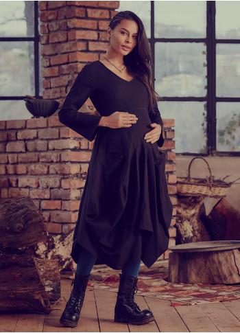 Oversized Pockets Tie Waist Black Maternity Dress