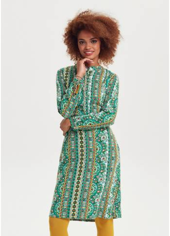 Ethnic Print Mandarin Collar Tie Back Green Dress