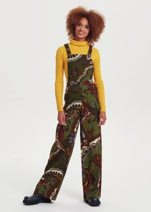 Adjustable Buckle Straps Green Patterned Jumpsuit