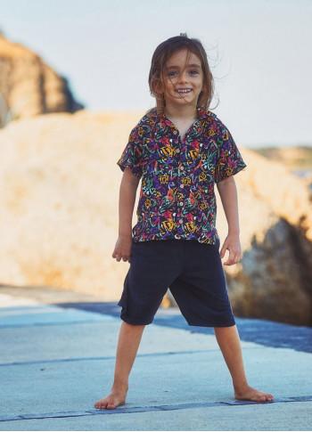 Kids Black Patterned Comfortable Cut Boy Shirt
