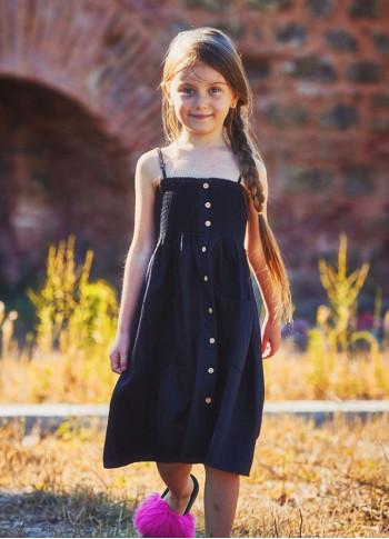 Kids Strap Casual Black Dress
