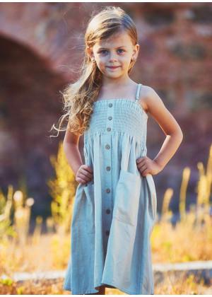 Kids Strap Casual Cream Dress